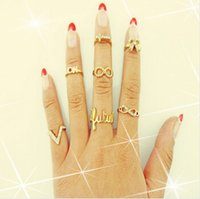 band of infinity - 7Pcs Set V OK Infinity Eternity Love Forever Bow Ribbon Knot Cross Top of Finger Over The Midi Tip Above Knuckle Band Ring