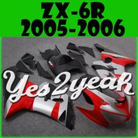 Wholesale New motorcycle fairings free gift Bolts Screws KAWASAKI Ninja Injection Mold Fairing Fit ZX6R ZX636 ZX R Red Silver Y61