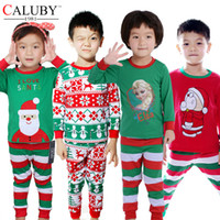 Wholesale Kids christmas sleepwear children clothing boys suits girls cotton deer stripe pajamas santas sleepwear sets free ship