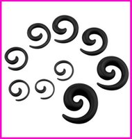 Wholesale Hot Selling Body Jewelry Acrylic Spiral Taper Tunnel Ear Stretcher Plugs Expanders Pircing Jewelry Black Drop Ship