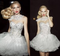 Wholesale 2015 Classic White Organza Short Prom Dresses A Line Princess Sweetheart Beaded Evening Party Dresses With Sequins Tiered Formal Dresses