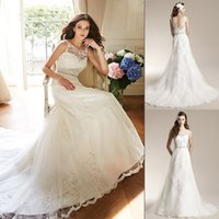Wholesale In Stock Sheer Neck Backless Wedding Dresses Beads Sash Lace Appliques Chapel Train A line Garden Bridal Gowns