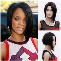 Wholesale Rihanna wigs black color wigs for women short style Synthetic Wig RIHANNA2