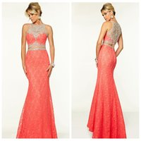 Wholesale Coral Sheath Prom Dresses Lace Two Piece Crew Straps Sleeveless Floor Length Illusion Back Zipper Crystal Beads Sequins Party Dresses