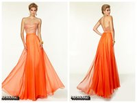 Cheap Orange A Line Prom Dresses Chiffon Curved Neckline Sleeveless Backless Zipper Floor Length Crystal Beads Sequins Party Dress New Vestidos