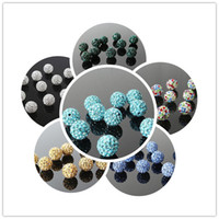 micro beads - 10mm Shamballa Disco Balls Bead Clay Micro Pave Crystal Rhinestones Through Drilled Hole Fit Jewelry Making Beads Normal Colors