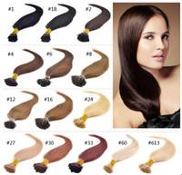Wholesale Natural Keratin Capsule Prebonded I Tip Hair Extension flat tip hair extension quot quot quot quot G colors available s bag