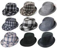 Wholesale Black Plaid Fashion Fedora Hats Adult Stingy Brim Caps Classical Jazz Hat Cap Mix Order