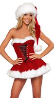Wholesale Adult Sexy Naughty Christmas Miss Santa Ladies Fancy Dress Xmas Party Costume HAT one size S L
