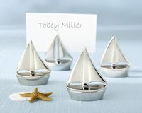 Wholesale Sailboat Wedding Place Card Holders - Free Shipping,12pcs lot,Nautical Wedding Favors Sailboat Place Card Holders with organza bag packing Wedding Favors