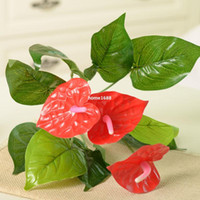 artificial potted plants - 10pcs Silk Artificial Flowers artificial flowers Simulation flowers small potted plant Anthurium decorated with plastic flower