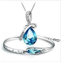 Wholesale 925 Silver Plated Austria Crystal Necklace Bracelet Jewelry sets Diamond Glass Shoes jewellery Sets Tear Drop Charm Necklace for women
