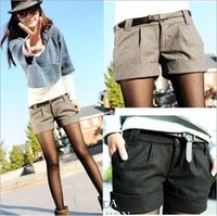 Shorts - 2015 autumn and winter women s turn up straight woolen bootcut short pants plus large big size casual shorts black grey WL1002
