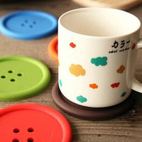 Wholesale High quality Cute Colorful Silicone Button Coaster Cup Cushion Holder Drink Placemat Mat Home