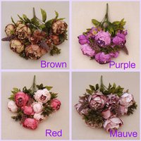 Wholesale Wedding Bouquet Hand Made Artificial Peony Bunch Flowers Bride Bridesmaid Bridal Accessories Decorations Hydrangea Garden Bulk Runners