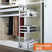 Wholesale Pull Out Closet Organizer Side Mount Larger Capacity AluminumAlloy Wardrobe Hardware Storage Three tier Clothing Sliding Basket MIXZONE