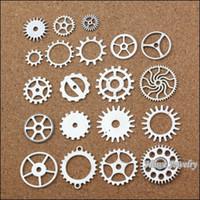 al por mayor reloj de plata de la vendimia-Gearclock de la vendimia del chram de mix60PC entrega los resultados aptos 20051 de la joyería del metal del collar DIY de la pulsera de la plata tibetana pendiente del cinc