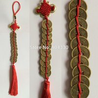 Wholesale pc Red Feng Shui Chinese Knot Emperors Coins Hanging Tassel Good Luck Fortune Wealth Prosperity CM