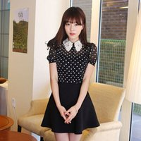 Wholesale 2016 Spring Summer preppy style polka dot chiffon blouse black lace peter pan collar loose top female short sleeve lace POLO shirt