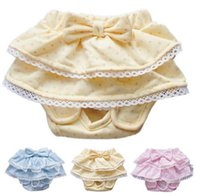 dog diapers - Sweet Pet Dog Apparel Pet Supplies Dog Clothes Pure Cotton Lace Bowknot Diaper Little Dog Clothing Accessories Blue Yellow Pink AF491