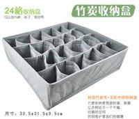 Wholesale Foldable Storage Box Bamboo Charcoal fibre Storage Box for bra underwear necktie socks pieces a set DHL sets