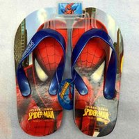 Wholesale NEW Superhero spider man Children slippers that occupy the home spiderman Beach shoes fashion flip flops L0230D