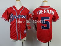 freeman - Youth Atlanta s Kids Jerseys Freddie Freeman Red Baseball Jerseys Mix Orders Embroidery Logos jersey