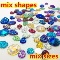 Wholesale Mix sizes mixed shapes mixed colors Sparkly Glitter Faux Resin Stones Flatback DIY Kawaii Cabochons
