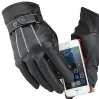 Wholesale sports Men touch screen gloves New design Fashion women Imitation leather black Five Fingers Gloves motorcycle gloves