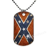 Wholesale In Stock Confederate Rebel Flag Flags Design Dog Tag Necklace Aluminum Tag for Animal Pets Tag Top Quality Dropshipping