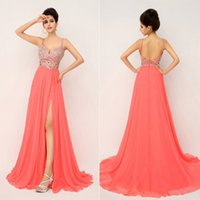 Cheap 2015 2015 Prom Pageant Evening Dresses Formal Gown Chiffon Full Beaded Crystal Top Backless Coral Spaghetti Straps Side Split Real Image