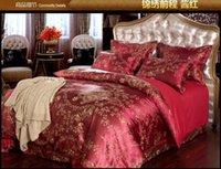 Wholesale Luxury red satin jacquard bedding comforter set for king queen size duvet cover bedspread bed in a bag sheet bedsheet bedroom quilt linen