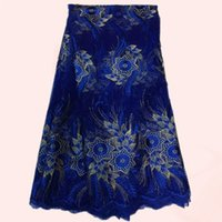 lace material - Noble pattern royal blue mesh lace sereis embroidery French net lace fabric African tulle lace material QN38 multi color