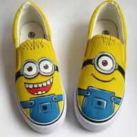 al por mayor pintado a mano dibujos animados los niños-New Kids figura de la historieta del animado Despicable Me Minion 2 zapatos de las muchachas de los zapatos de lona pintados a mano los niños zapatillas de deporte casuales