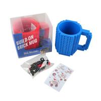 white mugs - Creative Build on Brick Coffee Mug DIY Drink Mugs Lego PixelBlocks Mega Bloks KRE O or K NEX Bricks compatible bricks cup