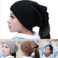 acrylic yarn uses - Both Sides Use Of Multi Functional Scarfs Autumn Winter Womens Beanies Scarfs Headbands Top Quality Factory Price
