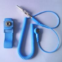 Wholesale DHL Anti Static Antistatic ESD Adjustable Wrist Strap Band Grounding electrostatic belt Blue