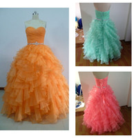 seafoam - Real Image Quinceanera Dresses Beaded Ruffled Orange Coral Pink Seafoam Organza Ball Gown Prom Gowns with Sweetheart Neckline Backless