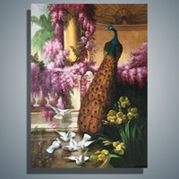 animals contemporary art - Hand Painted Canvas Oil Painting Contemporary Household Adornment Art Peacock And Purple Flower Vine x50cm