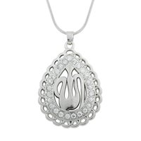 allah symbols - 30pcs a Religious Symbol Allah Pendant Necklaces White Crystal Women Jewelry Water Drop Snake Chain