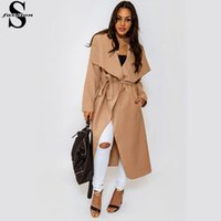 Cheap 2015 Womens Winter Long Wool Coat Drape-Front Long Sleeve Wrap Coats Modern Slim