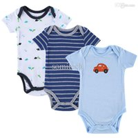 Wholesale New Baby Boy Rompers Baby Clothing Set Summer Cotton Baby Girl Boy Short Sleeve Car Printed Jumpsuit Newborn Baby Clothes