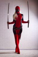 Wholesale Lady Deadpool Costume Red full body spandex girl women female Heros Deadpool Zentai Suit