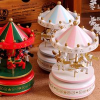 Wholesale Vintage Blue Wooden Merry Go Round Carousel Music Box Kids Children Girls Christmas Birthday Gift Toy