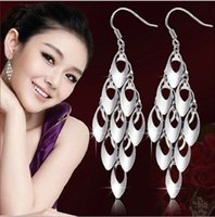Cheap High quality 925 sterling silver jewelry peacock tail long tassels silver dangle earrings for women fine jewelry