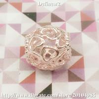 2014 El nuevo oro de Rose de la plata esterlina 925 plateado abre sus encantos del corazón para las pulseras europeas DF381 del estilo de la marca de fábrica DIY pandora famosa de las mujeres