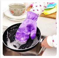 Wholesale 4 colors Gloves Waterproof Oil Dishwashing gloves Magic Natural Wood Fiber Cleaning Housework Kitchen Cleanning Gloves R1188