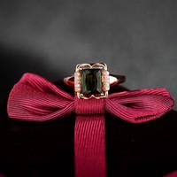 achat en gros de bague en or tourmaline verte-Nouveau gros-Design Emerald Cut 6x8mm Vert Tourmaline diamant Dans Solid 18 KT Rose d'or sur mesure Bagues de fiançailles 45TOU-SR00348