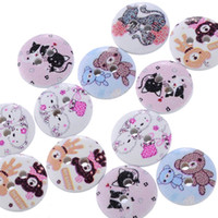 Wholesale Wooden Buttons Pack Of Holes mm Fixed Mixed Kinds White With Adorable Animal Motifs For Children S Birthday Box As Gift I24E