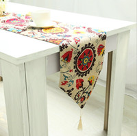 Wholesale Sunflower Linen Cotton Table Runners Placemat Christmas Dining table Decoration Various Size